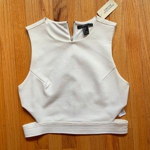 NWT WHITE SIDE CUT-OUT CROP TANK TOP